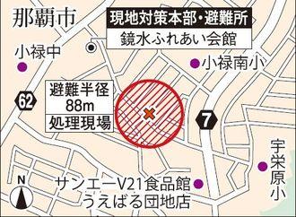 不発弾の処理現場と現地対策本部・避難所