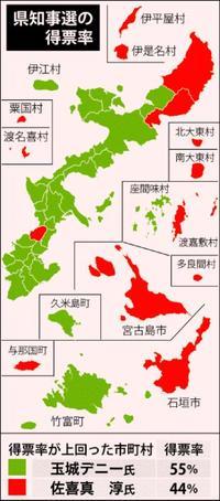 [玉城氏]那覇含む8市で過半 [佐喜真氏]保守地盤で伸び悩む 沖縄知事選・地域別の得票分析