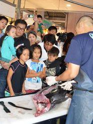 マグロの解体ショーを見る買い物客や子どもたち=10日、那覇市の泊いゆまち