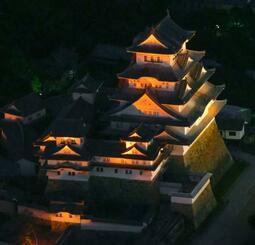 「世界アルツハイマーデー」に合わせ、オレンジ色にライトアップされた姫路城=21日夜、兵庫県姫路市(共同通信社ヘリから)