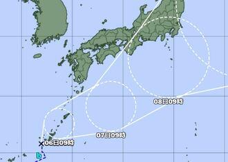 5日午前9時現在の熱帯低気圧の経路図