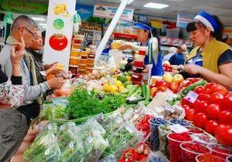 自由市場「ペルワヤ・レチカ」を視察する視察団メンバー=7日、ロシア・ウラジオストク市