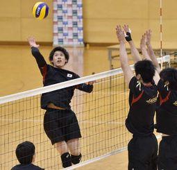 強化合宿で汗を流す全日本男子チームの石川祐希(左)=沖縄市体育館(金城健太撮影)