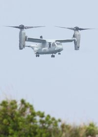 読谷・米軍トリイ通信施設でオスプレイが離着陸