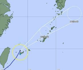 6月5日正午時点の台風の進路予想図(気象庁HPより)