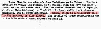 米国防総省が米軍普天間飛行場の閉鎖を計画していた1968年12月策定の内部文書。赤で色付けされた部分は「普天間の海兵隊ヘリコプター基地は閉鎖する」と明記している