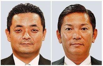浦添市長選挙への立候補を届け出た松本哲治氏(右)と又吉健太郎氏