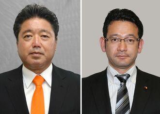 下地幹郎氏(左)と国場幸之助氏