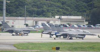 10月19日午前2時30分に離陸して100デシベル超の騒音を出したとみられるF16戦闘機の同型機=米軍嘉手納基地