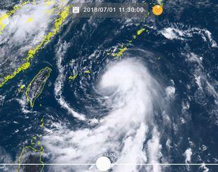 1日午前11時半現在の台風7号(NICTひまわり8号リアルタイムwebから)