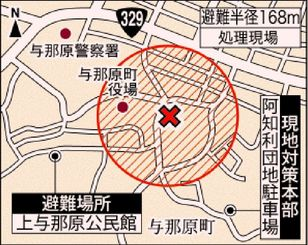 不発弾処理現場と避難場所