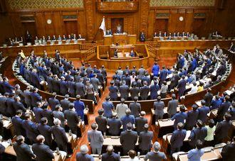 ドローン規制法改正案を賛成多数で可決した衆院本会議=4月16日