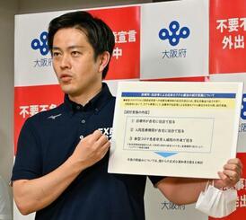 自宅での抗体カクテル療法実施を発表する大阪府の吉村洋文知事=17日午後、大阪府庁