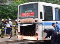 路線バスから出火 沖縄大学前、乗客40人けがなし
