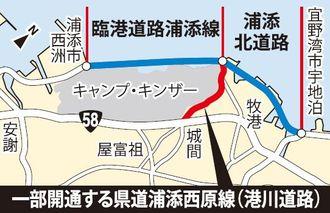 県道浦添西原線(赤い部分)