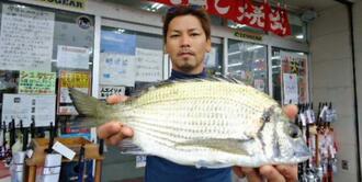 安田海岸で41.8センチ、1.21キロのミナミクロダイを釣った亀山朝次さん=7日