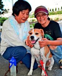 宮里さん(右)に引き取られた寿寿。散歩に付き合う母・スミコさん(80)は「おりこうだよ」となでた=8月24日、浦添市内