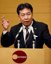 共同通信加盟社編集局長会議で講演する立憲民主党の枝野代表=12日午後、東京・東新橋