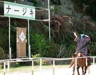 勇壮な走りで畳に張られた羊の名前に矢を射る騎手=沖縄こどもの国ハイビスカス広場