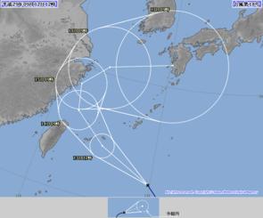 12日正午の台風18号の進路予報図(気象庁HPから)