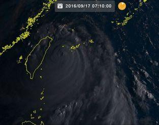 台風16号(17日7時10分現在、ひまわり8号リアルタイムWebから)