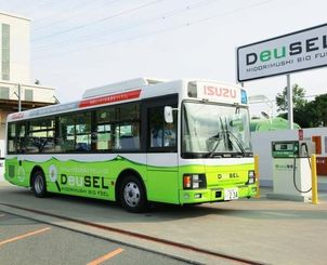 ユーグレナのディーゼル燃料で走るシャトルバス=神奈川県内(ユーグレナ提供)