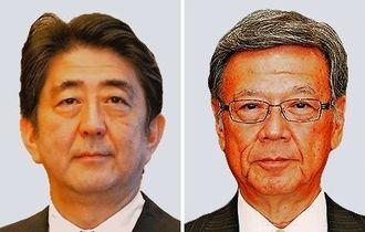 安倍晋三首相(左)と翁長雄志知事