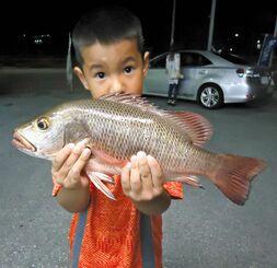 名護海岸で40・3センチ、0・88キロのカースビーを釣った宮城飛友磨さん=18日