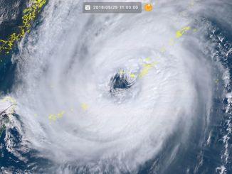 台風24号(29日11時現在、ひまわり8号リアルタイムwebから)