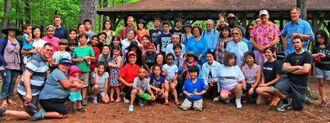県人会の活動を広げ、会員やゲスト約70人が参加したアトランタ県人会のピクニック=ウイートウオータークリーク州公園