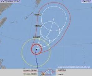 台風20号の進路予想図(気象庁のホームページから)