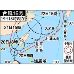 台風16号 19日18時現在