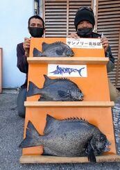 宜野湾海岸で60・5センチ、4・19キロのガラサーミーバイを釣った宮城英人さん(右)と森松長太さん=2日