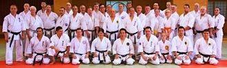 沖縄で開催された国際空手セミナーに参加したメンバーら=県立武道館