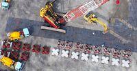 被覆ブロック作製確認/辺野古新基地 護岸の基礎に使用