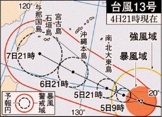 台風13号(4日21時現在)