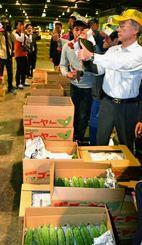 天候不順による入荷量の減少で品薄感の強いゴーヤーを競り落とす仲卸業者や買参人ら=5日、浦添市伊奈武瀬の県中央卸売市場