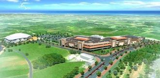 ドーム施設(左)に隣接し、2019年秋ごろをめどにオープン予定の「サンエー宮古島シティ(仮称)」