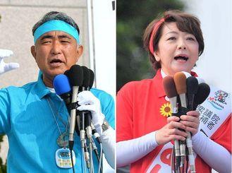 衆院沖縄3区補選に立候補した屋良朝博氏(左)と島尻安伊子氏。それぞれ出発式で支持を訴えた。