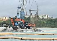 辺野古新基地:ダンプなど125台が基地内へ 沿岸は埋め立て作業進む