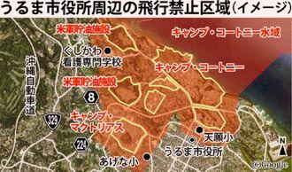 うるま市役所周辺の飛行禁止区域(イメージ)