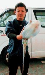 熱田漁港でアオリイカを釣った比嘉綱木さん=2日