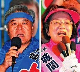 支持者に政策を訴える城間幹子氏(右)と与世田兼稔氏