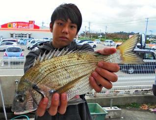 石川海岸で39センチのチヌを釣った謝花寛那さん=1月27日