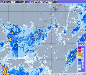 レーダー・ナウキャスト(降水・雷・竜巻):沖縄地方(気象庁HPより)
