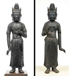 東京都在住の個人が所有している銅造勢至菩薩立像(左)と真光寺所蔵の銅像観音菩薩立像(大津市歴史博物館提供)