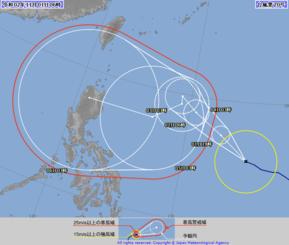 台風20号の進路(気象庁HPから)