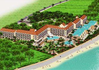 大宜味村塩屋の埋め立て地「結の浜」に建設予定のリゾートホテルの完成イメージ図(ルートインジャパン提供)