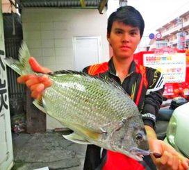 当添漁港で46センチ、1・63キロのチンシラーを釣った川満龍馬さん=7月30日