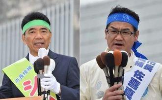 出発式で支持を訴える志村恵一郎氏(左)と佐喜真淳氏=17日午前、宜野湾市